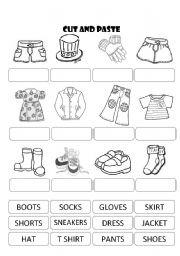 English Worksheet: CLOTHES CUT AND PASTE