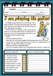 English Worksheet: I AM PLAYING THE GUITAR ( 2 PAGES )