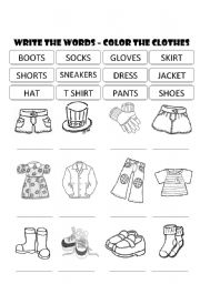 CLOTHES - WRITE THE WORDS AND COLOR THE PICTURES