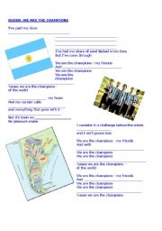 English Worksheet: We are the champions- Queen (worldcup)