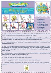 English Worksheet: Cartoon Series 2 - SpongeBob SquarePants (2 pages + answer key)
