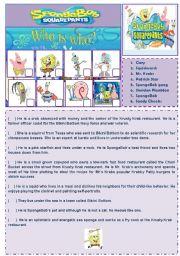 English Worksheets: Cartoon Series 2 - SpongeBob SquarePants (2 pages + answer key)