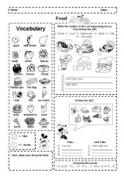 English Worksheet: Food: I like and dislike (activities + pictionary)