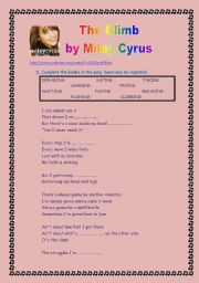 English Worksheets: Listening: The Climb by Miley Cyrus (2 pages)