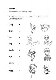 English Worksheet Verbs Or Action Words Coloring Page