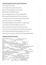 English Worksheet: Revision for 1st year Bachillerato reported speech, relatives, passive,conditionals and tenses.