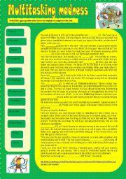 English Worksheets: Multitasking madness