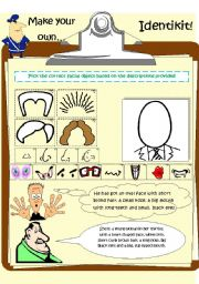 Vocabulary worksheets > Face and body > Make your own identikit!