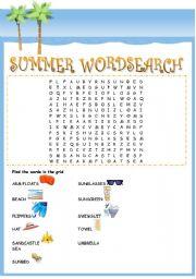 Vocabulary worksheets > Seasons > Summer > Summer wordsearch + key ...