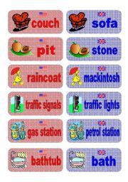English Worksheet: British English vs American English memory game - set 7