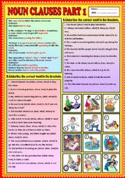 English Worksheet: Noun Clauses part 1 (what, when, how,  and where) + KEY