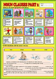 English Worksheet: Noun Clauses part 2 (what, when, how,  and where) + KEY