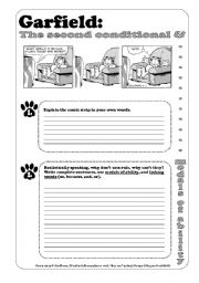 English Worksheet: 2 Pages Modals & Conditionals Writing Exercise -------------------------------------------- If Garfield Were King of the World - Conditional 2 / Second Conditional / Modals of Ability - Obligation - Permission - Possibility - with Garfield - Writing Exerc
