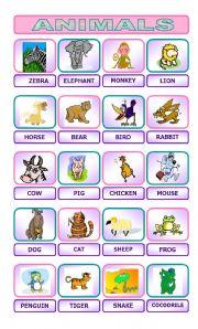 English Worksheet: Animal Pictionary