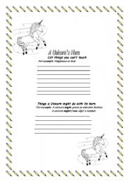 English Worksheets: A Unicorn�s Horn