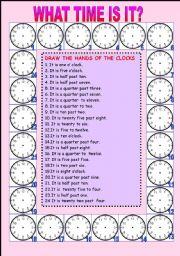 English Worksheet: telling the time