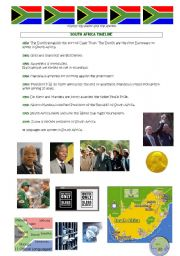 English Worksheet: South Africa Timeline