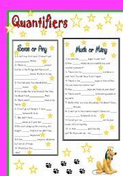 English Worksheet: quantifiers -some, any - much, many