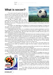 English Worksheet: What Is Soccer