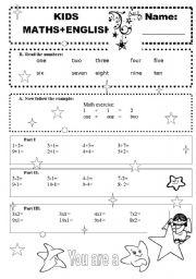 kids - maths + English - BW version - ESL worksheet by procei