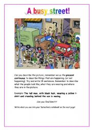 English Worksheet: A busy street (Picture description)