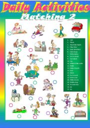 English Worksheets: Daily activities Matching 2