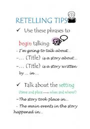 English Worksheets: Retelling tips for students