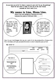 Monalisa - Reading and Writing activity