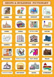 English Worksheet: SHOPS & BUILDINGS  PICTIONARY