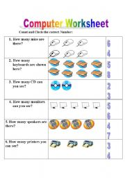 English worksheets: computer worksheet