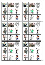 english worksheets jobs bingo cards