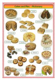English Worksheets: Cakes and pies -pictionary