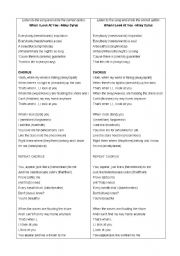 English Worksheets: Song Activity - When I look at you - Miley Cyrus