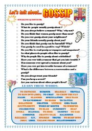 English Worksheet: LET´S TALK ABOUT GOSSIP (SPEAKING SERIES 44)