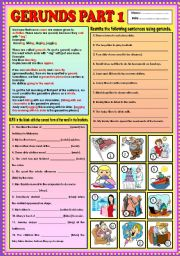English Worksheets: Gerunds part 1 + KEY