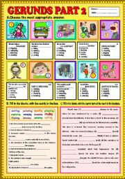 English Worksheet: Gerunds part 2 + KEY