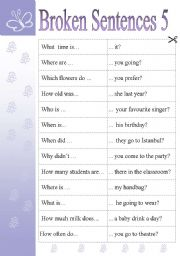 English Worksheet: BROKEN SENTENCES 5 - GAMES & ACTIVITIES (WH- QUESTIONS)