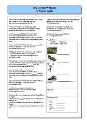English Worksheets: You belong with me, by Taylor Swift