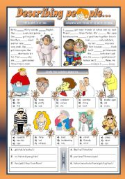 English Worksheet: DESCRIBING PEOPLE...