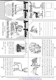 English Worksheets: Aesop�s Fables: The Horse, The Hunter and The Stug [ Mini-book ]