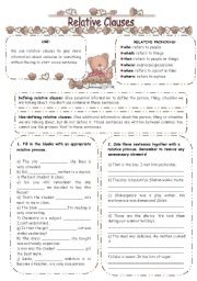 English Worksheet: RELATIVE CLAUSES EXERCISES