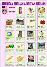 English Worksheet: American English& British English