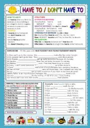 English Worksheet: HAVE TO / DON´T HAVE TO