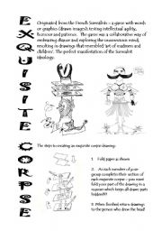 exquisite corpse writing activity sheets