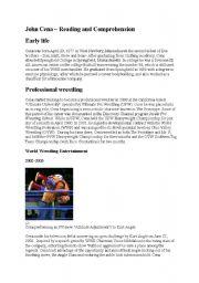 English Worksheets: John Cena Reading and Comprehension