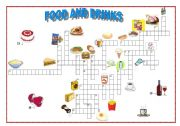 English Worksheet: Food and drinks crossword