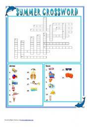 summer crossword + key + grayscale version - ESL worksheet ...