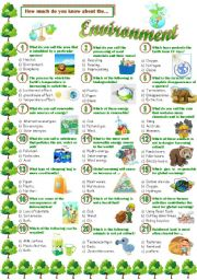 English worksheet: Environment-Quiz