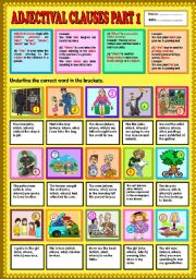 Adjectival Clause part 1 (who, whom, whose & which) + KEY