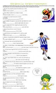 English Worksheet: FIFA World Cup - Key Word Transformation / Paraphrasing